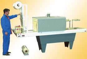 Проходной тоннельный аппарат с транспортером для упаковки в термоусадочную плёнку-рулон с пневматическим ножом ТПЦ-550П